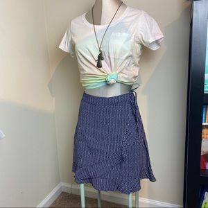 AEO high-waisted tie wrap up mini skirt striped
